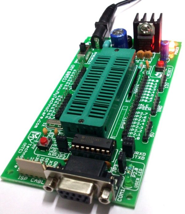 Best Board For 8051 Project Microcontroller Architecture Pinout Tutorial Datasheet Pin out Diagram Block Diagram Architecture India MY TechnoCare MY8051 ZIF Small Development Board with MAX232 IC, Project Board