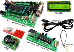 8051 Microcontroller Tutorial Board with ZIF Socket Programming Kit To Learn Industrial Project Development & How to Interface Program/code AT89S52 ,UART,Display 16x2 LCD Display,Motor,DS1307 low cost India MyTechnoCare.com