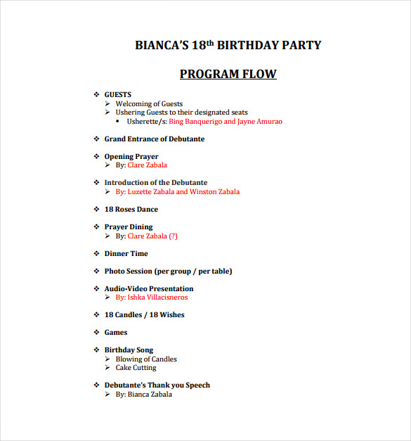 18th Birthday Party Program PDF Template Free Download