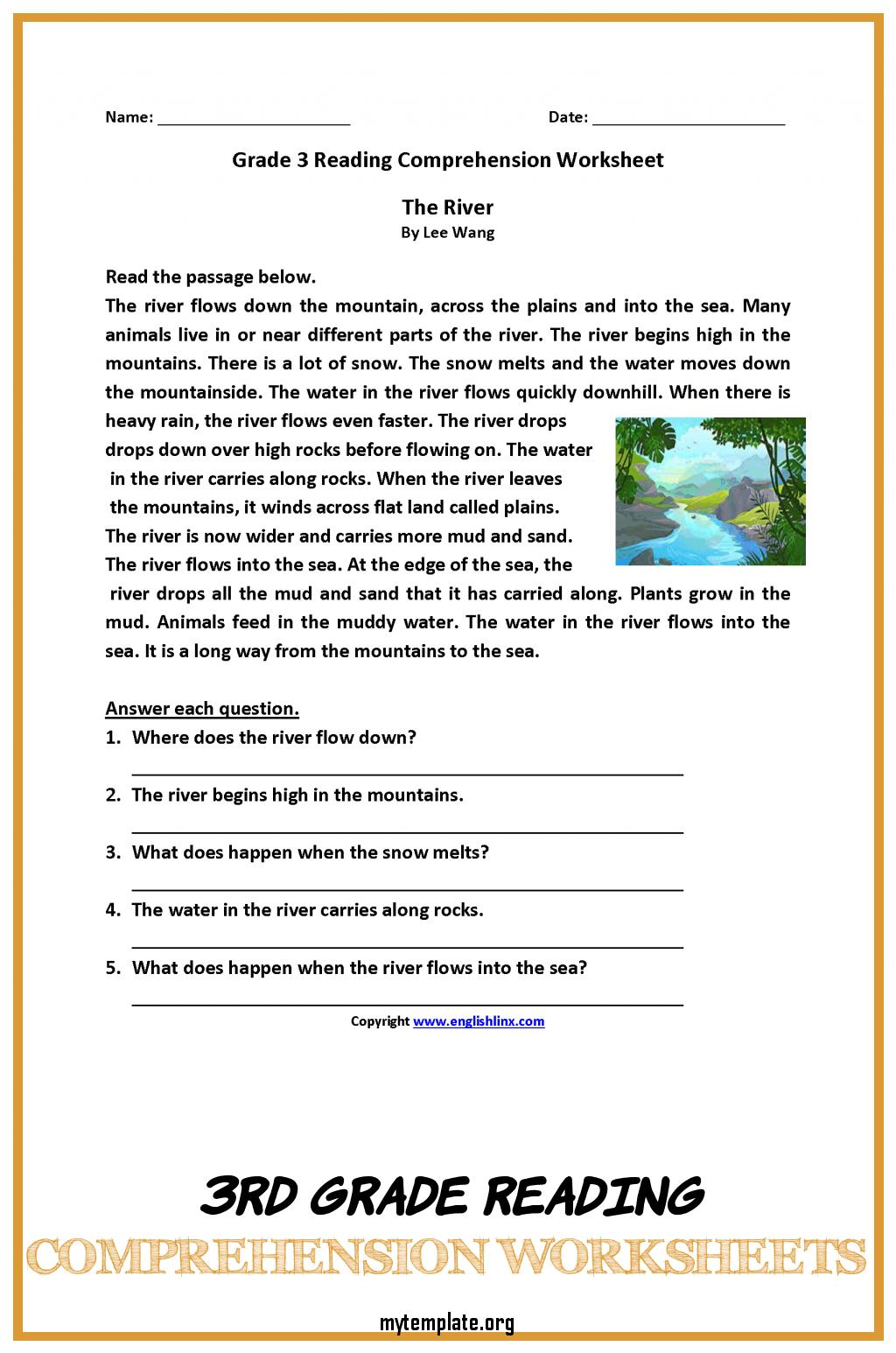 3rd Grade Reading Comprehension Worksheets Of Worksheet