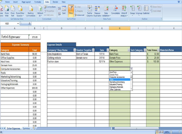 Business Expense Tracking Template Sample Download