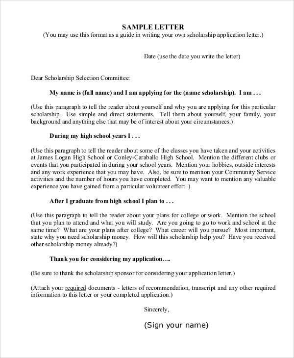 College Scholarship Application Letter Template