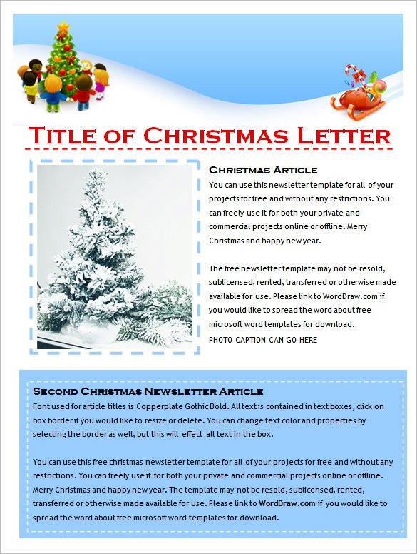 Cute Holiday Christmas Newsletter Template