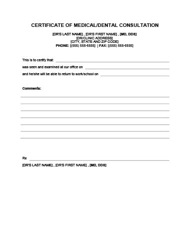 DOCTOR OR DENTIST NOTE TEMPLATE