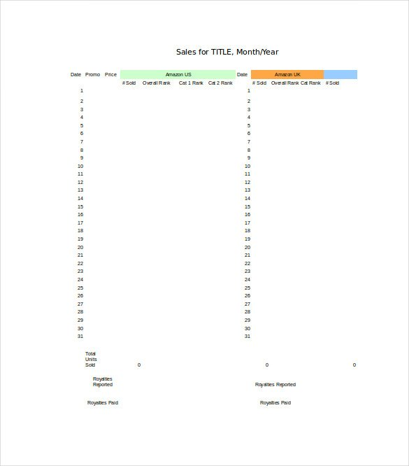 Daily Sales Tracking Excel Format Download Template