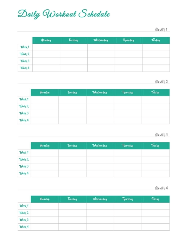 Daily Workout Schedule Template Free Templates