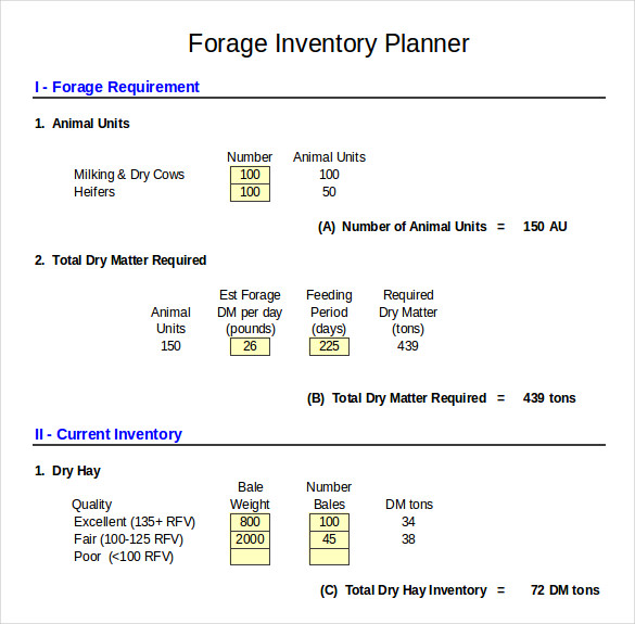 Dairy Forage Inventory Control Template In Excel Format