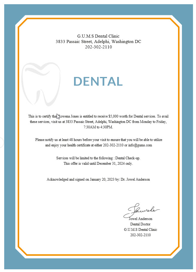 Dental Medical Certificate