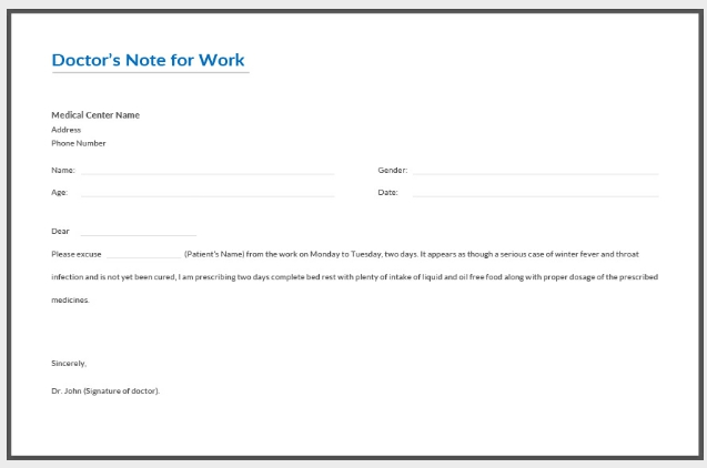 Doctors Note For Work Template