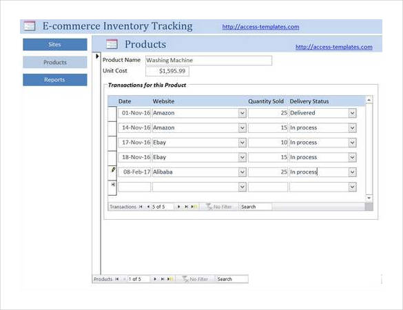 E commerce Inventory Tracking Access Database