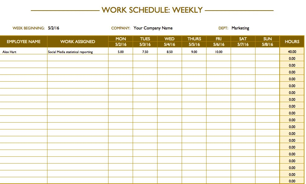 Easy to Edit Blank Schedule Template
