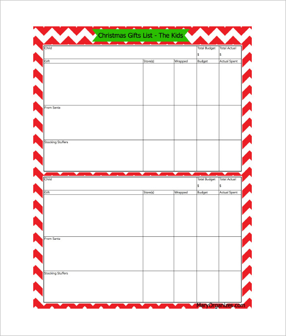 Email Christmas List Templates