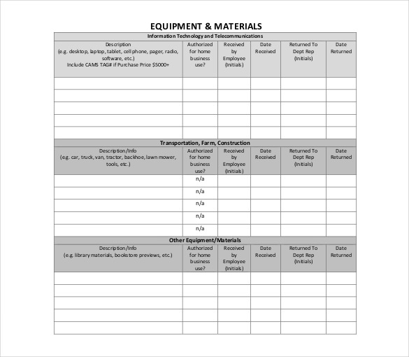 Employee Assigned Asset Tracking Sample Format Template
