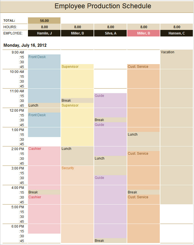 Employee Production Schedule Template
