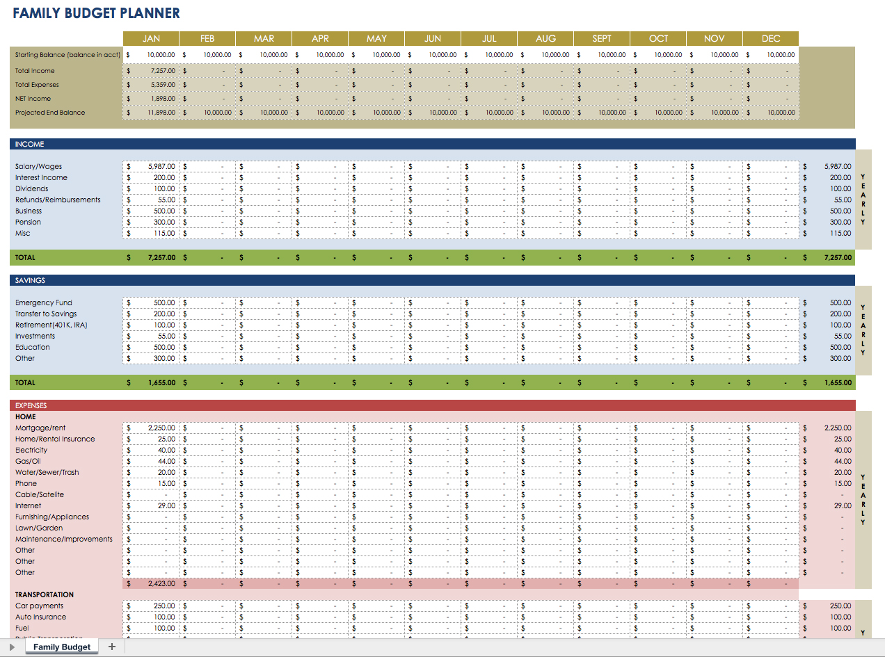 Family Budget Planner Template Excel