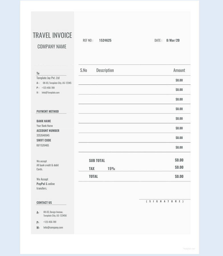Fee Blank Travel Invoice Sample