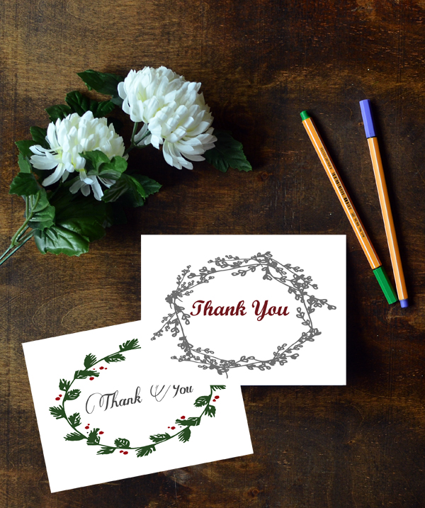 Floral Wreath Christmas Thank You Cards