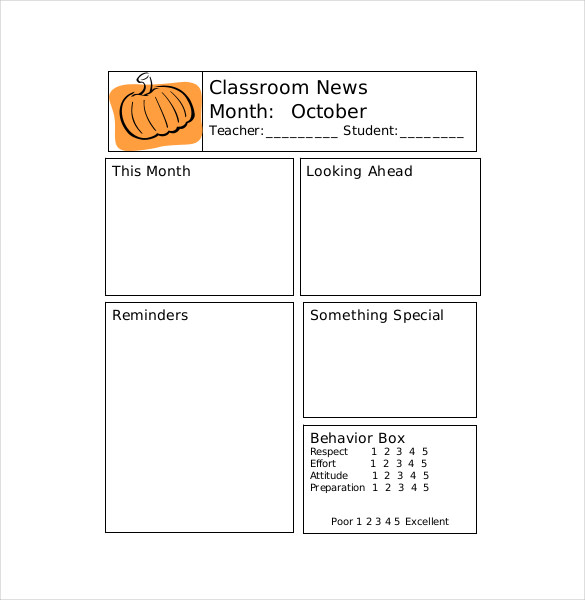 Free Classroom Newsletter Template