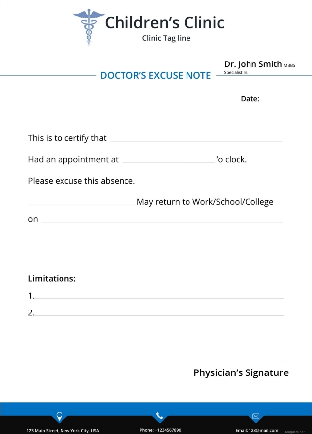 Free Doctor Excuse Note Template