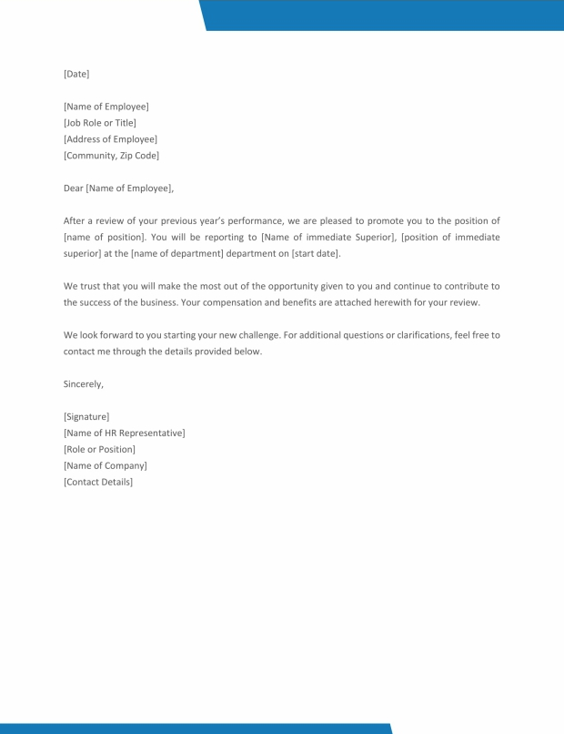 10+ Promotion Letter Templates - Free Templates on promotion recommendation letter, police promotion resume cover letter, hr promotion requirements, unfair promotion letter, congratulations on your promotion letter,