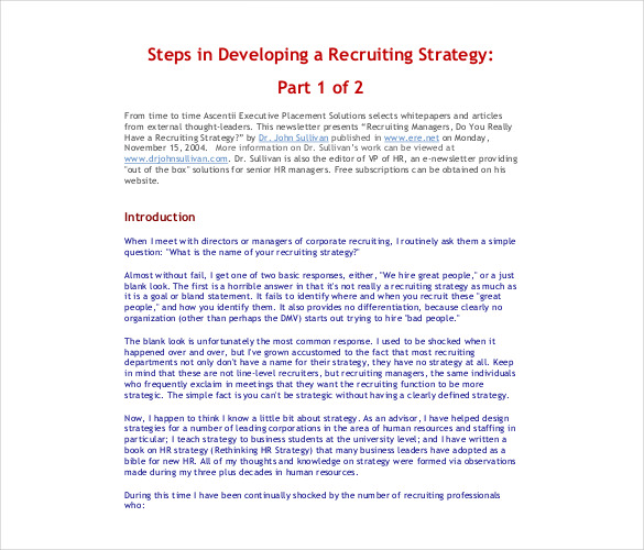 Free Sample Developing A Recruiting Strategy Template Pdf Format