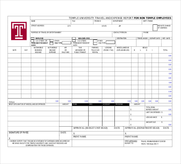 Free Travel Expense Report Download