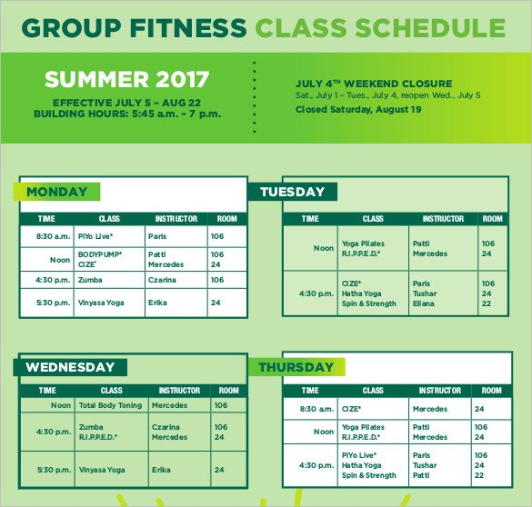 Group Fitness Class Schedule