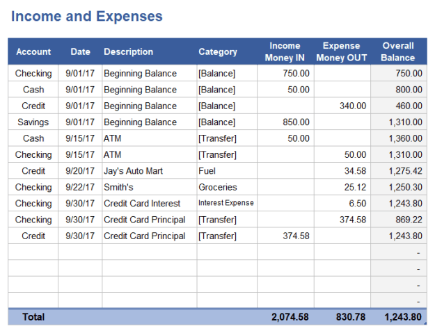 Income and Expense Worksheet