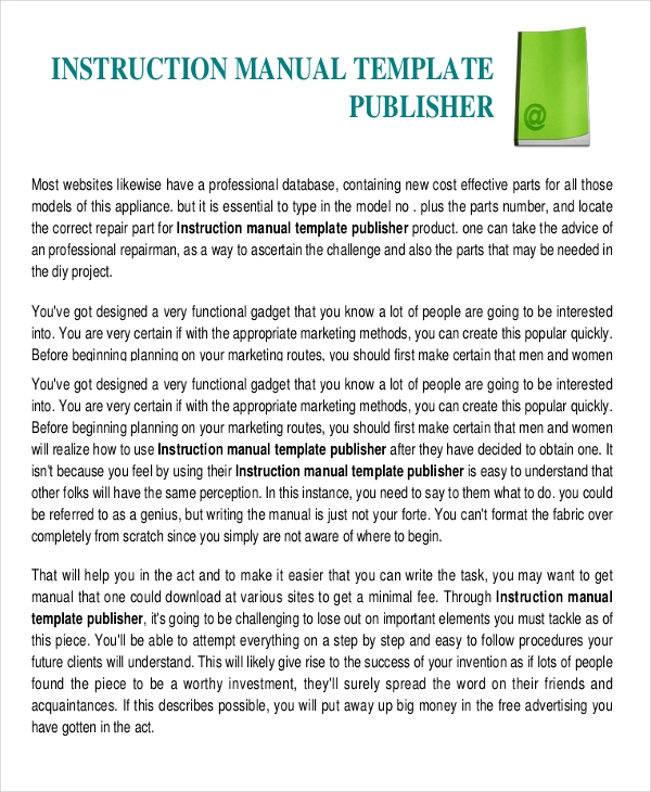 Instruction Manual Template For Publisher