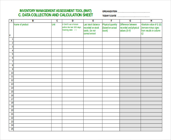 Inventory Management Assessment Tool Free Sample