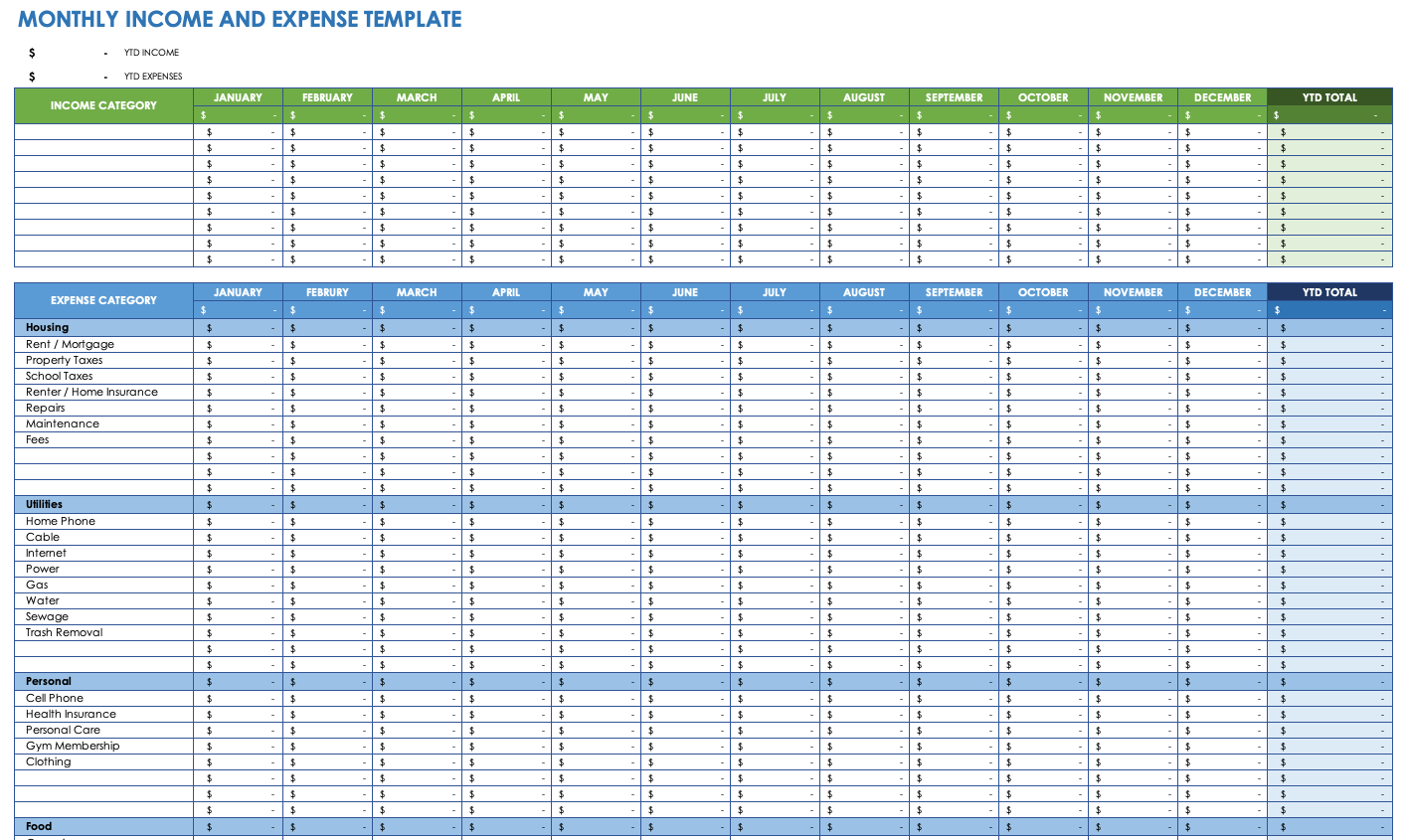 Monthly Income And Expense Template For Excel