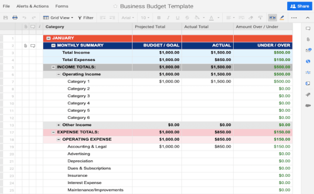 Manage budgets related to your business template excel
