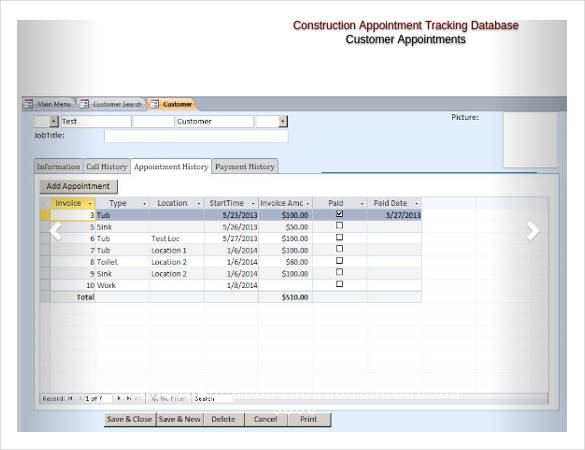 Microsoft Access Construction Appointment Tracking Database