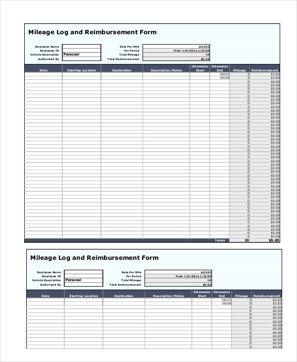 Mileage Log and Reimbursement Form