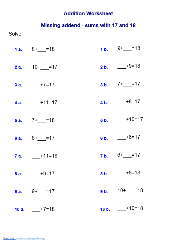 Missing addend - sums with 17 and 18 worksheet template grade 2 word