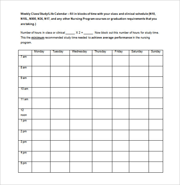 Monthly Nursing College Class Schedule Template Word Format