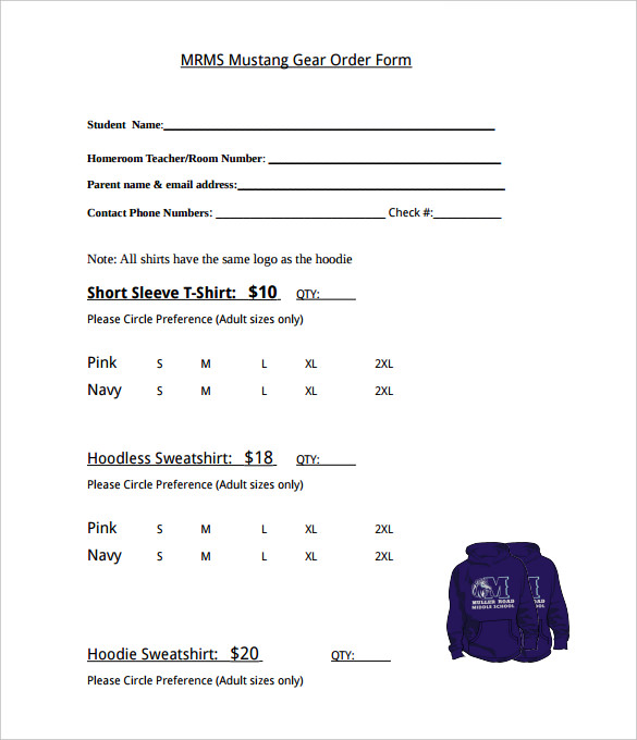 Mustang Gear T-Shirt Order Form Template PDF Format