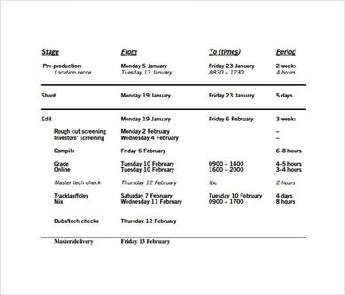 Pre Production Schedule Template