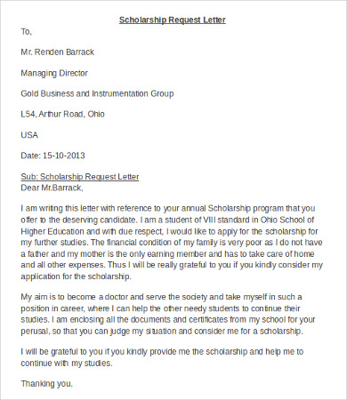 Request Scholarship Application Letter