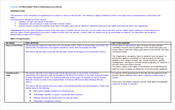 Sample Doc Template For Recruitment Policy Free Download