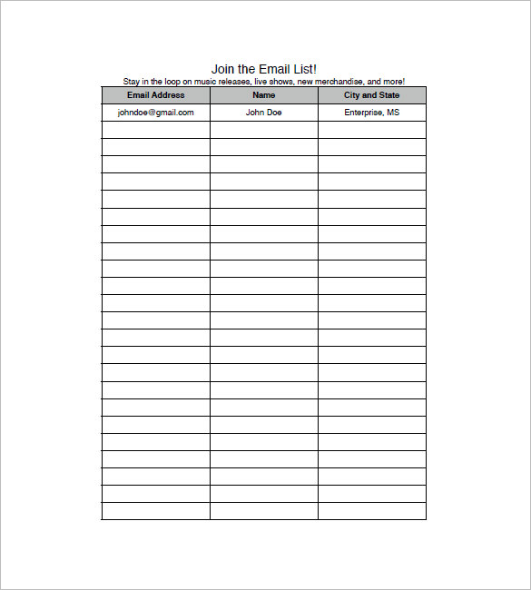 Sample Email Address List Template