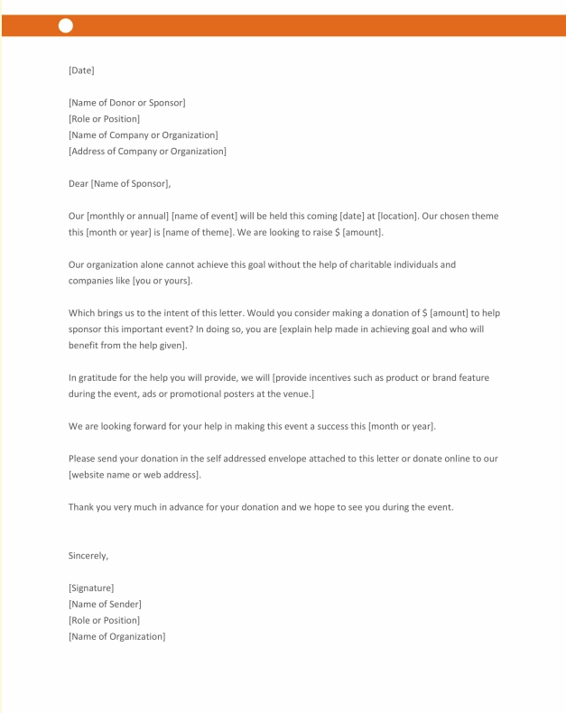 Sample Sponsorship Letter for Donation