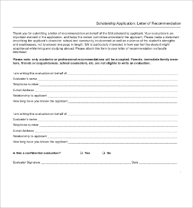 Scholarship Application Letter of Recommendation