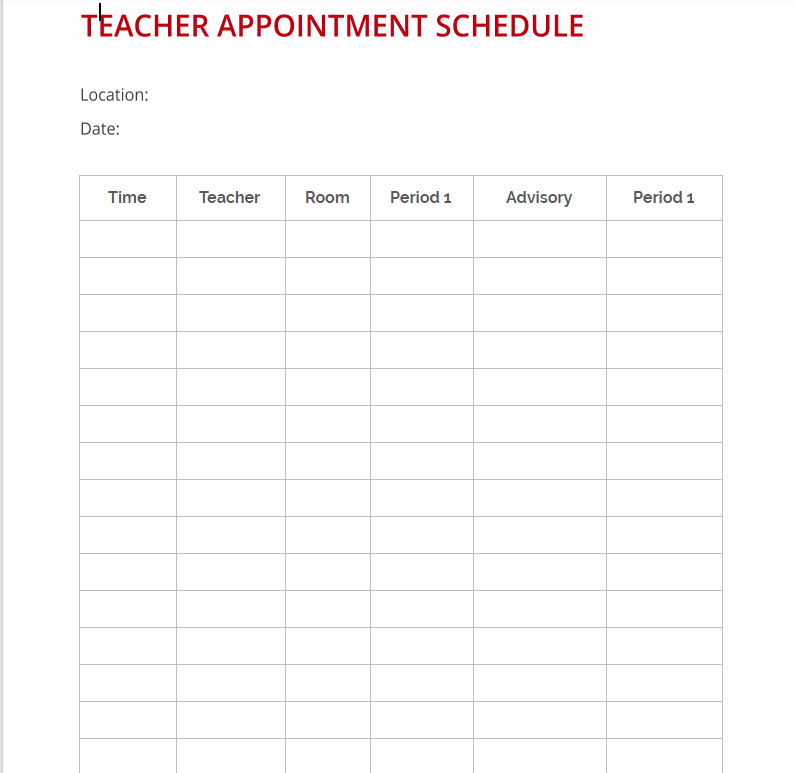 Teacher Appointment Schedule