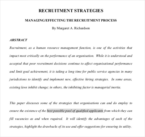 The Process Of Recruitment Strategies PDF Format Free Sample Template