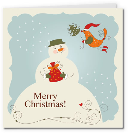Vintage Snowman and Birdy Design Chrismas Greeting Card