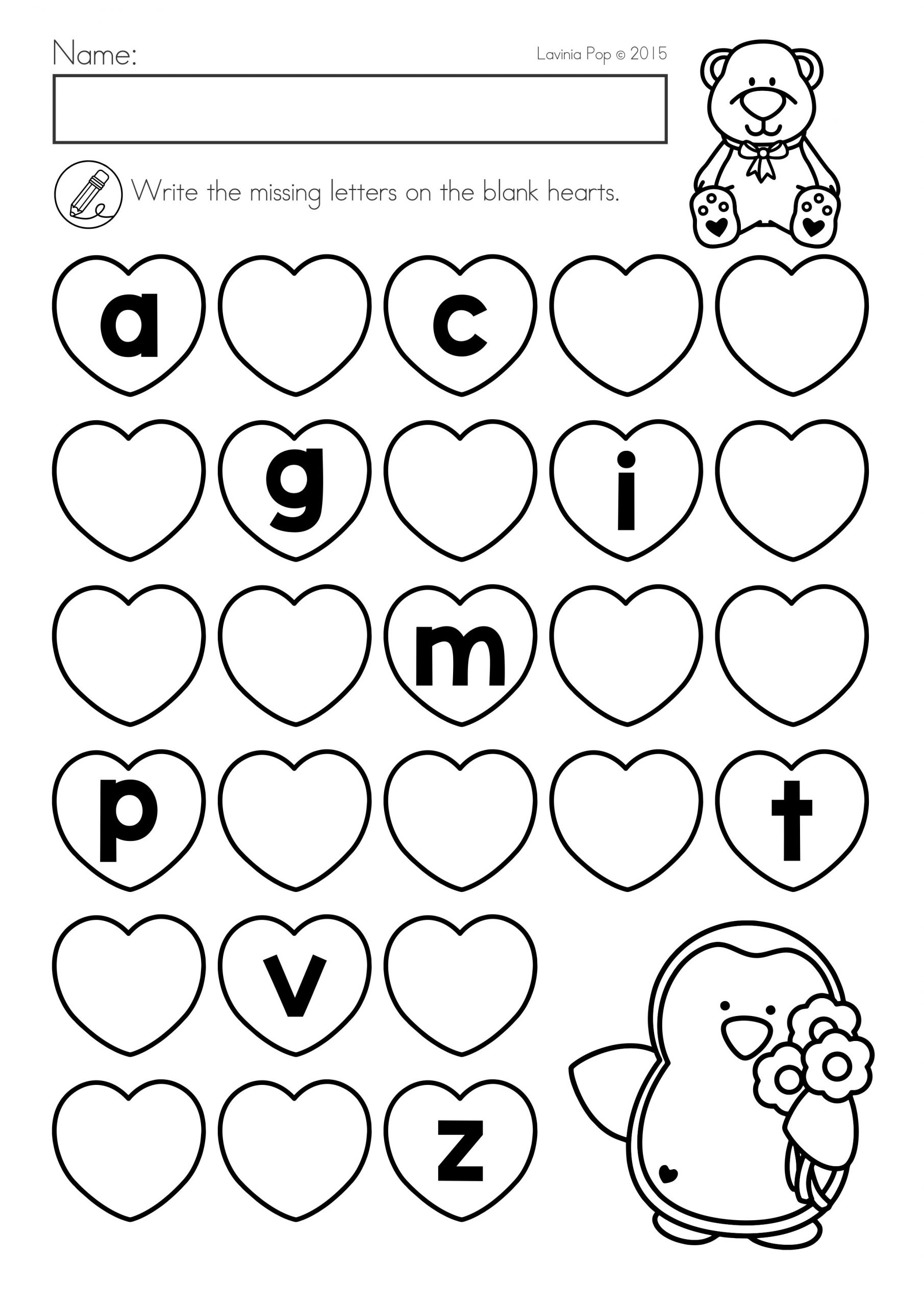 Alphabet Worksheets Activities Of Valentine S Day Math