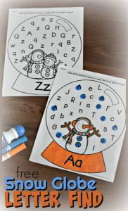 Alphabet Worksheets Fun Of Free Snow Globe Letter Find