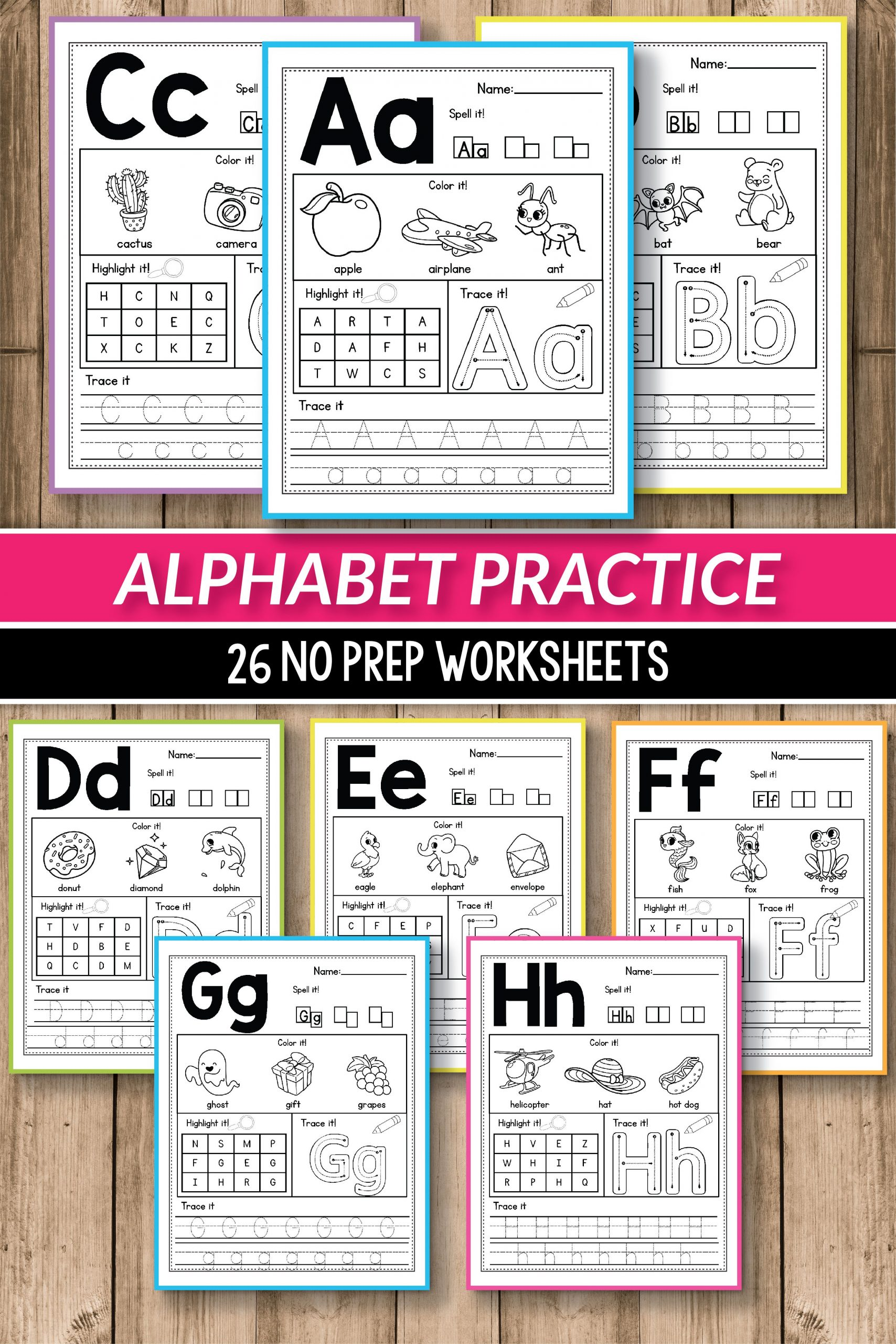 Alphabet printable activities for preschool and kindergarten These pack of worksheets will make teaching and practice English uppercase and lowercase letters much easier Your students will have so much fun coloring cute animals and alphabet pictures tracing letters practicing writing and more The kids practice letter recognition and handwriting in a creative way This pages are perfect fo morning work small groups early finishers alinavdesign alphabetpractice alphabetworksheets abcs