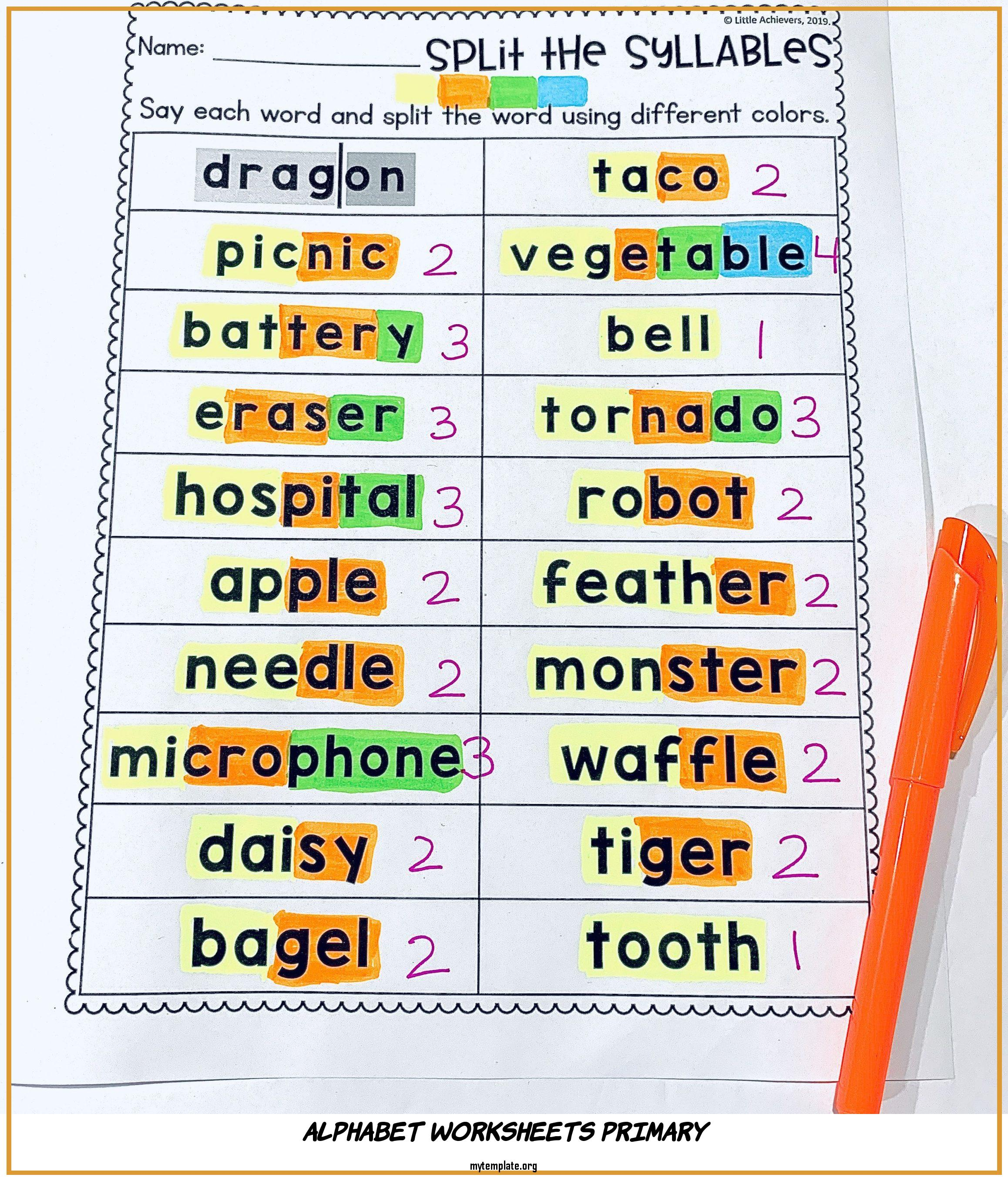 Alphabet Worksheets Primary Of Syllable Matching